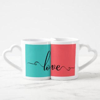 Love Modern Calligraphy Script Couples Mug Lovers Mug