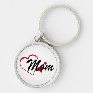 Love Mom Hearts Premium Keychain Silver-Colored Round Keychain