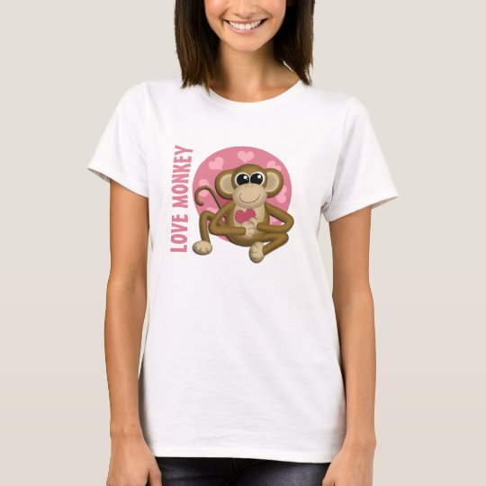 Love Monkey - Cute Monkey with Pink Hearts T-Shirt
