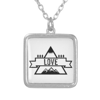 Love Mountains Trees Sun Silver Plated Necklace