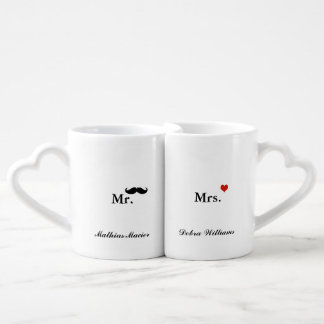 love mr mrs personalized name couples' coffee mug set