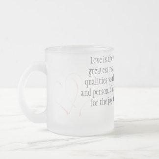 Love 10 Oz Frosted Glass Coffee Mug