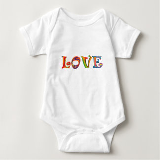 Love Multicolour Stencilled Slogan Babygrow Baby Bodysuit