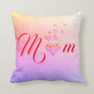 Love ~ Mum. Colourful Floral Heart Throw Pillow