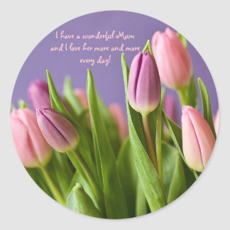 Love Mum Gift Tulips Pink and Violet Round Sticker