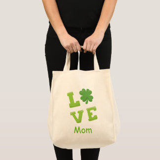 Love Mum Green Block Letters St Patricks Holiday Tote Bag