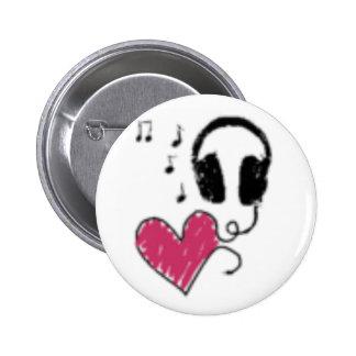 Love music 6 cm round badge