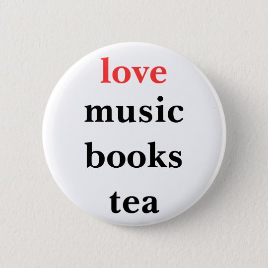 love music books tea button pin