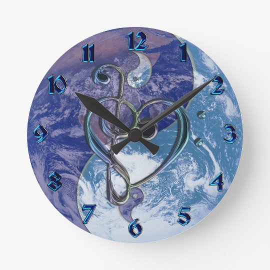 Love Music Clef Heart Yin-Yang Earth Clock