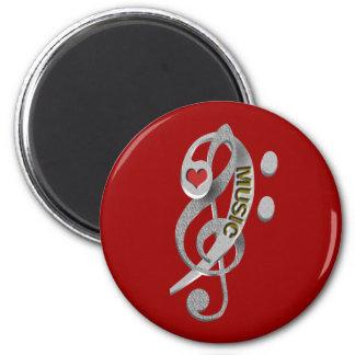 Love Music Clef Sculpture 6 Cm Round Magnet
