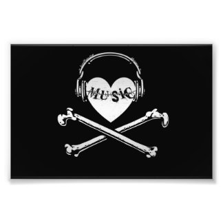 Love Music Headphones Skull and Crossbones Photo Print