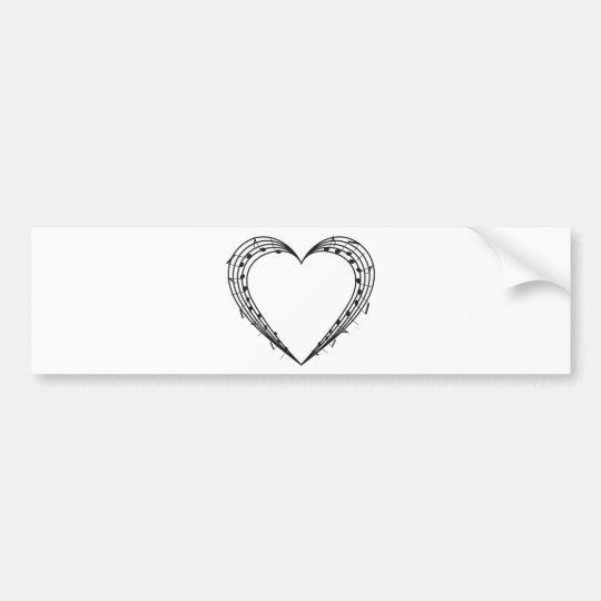 love music, musical notes heart bumper sticker
