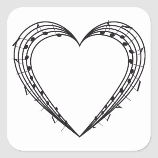 love music, musical notes heart square stickers