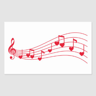 love music, musical notes with hearts rectangular sticker
