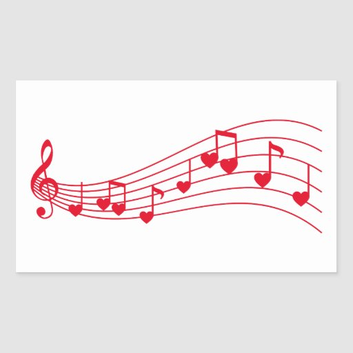 love music, musical notes with hearts rectangle stickers
