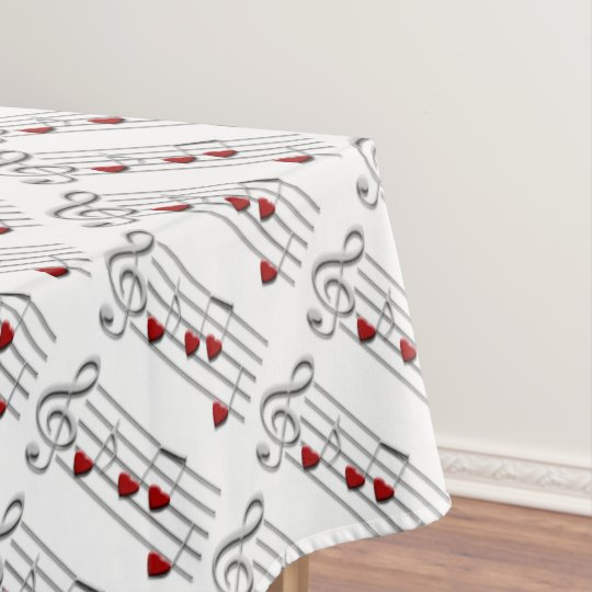 love music notes silver red white tablecloth