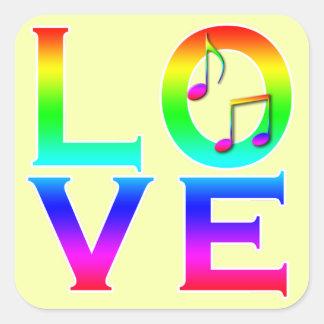 LOVE: Music Notes Square Sticker