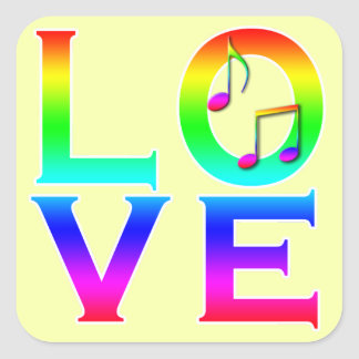 LOVE: Music Notes Square Sticker