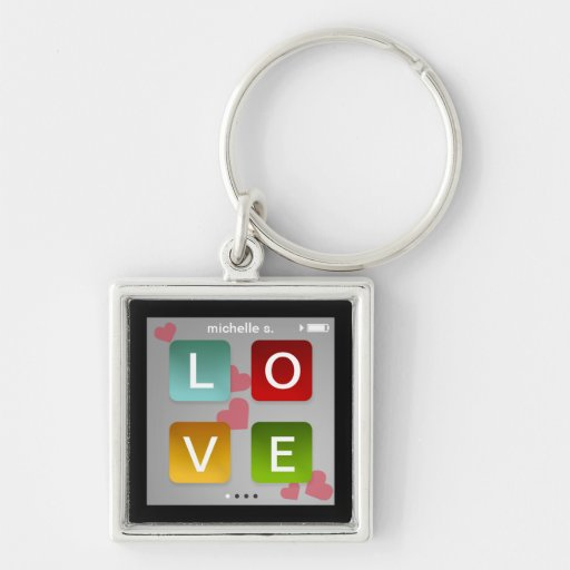 LOVE music player key fob ring ipod touch inspired Key Chains