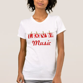 Love Music - Red and White Patchwork Effect T-Shirt