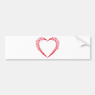 love music, red heart with musical notes bumper sticker