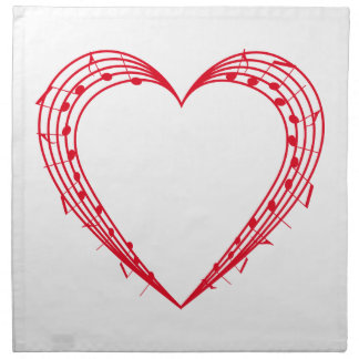 love music, red heart with musical notes napkin