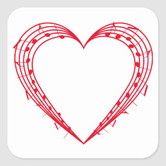 love music, red heart with musical notes stickers
