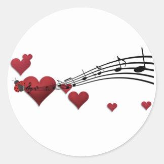 Love music round sticker