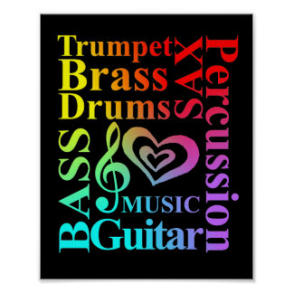 Love Music Themed Typography Colorful Text Graphic Poster