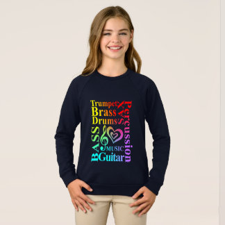 love Music Themed Typography Colorful Text Graphic Sweatshirt