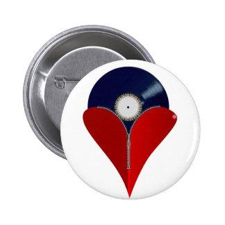 Love Music Zipper Heart 6 Cm Round Badge