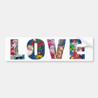 LOVE MUSICAL  SANTA XMAS PARTY BUMPER STICKER