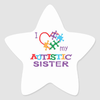 LOVE MY AUTISTIC SISTER STAR STICKERS