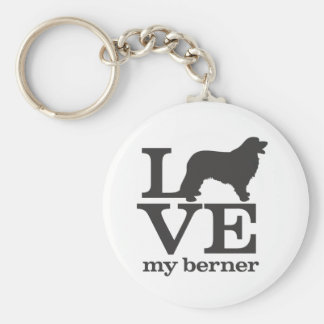 Love my Bernese Mountain Dog Basic Round Button Key Ring