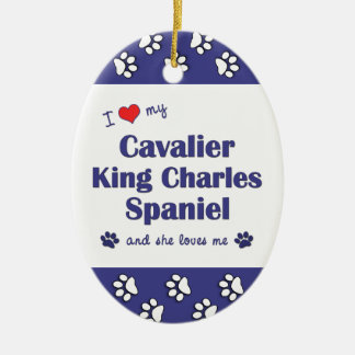 Love My Cavalier King Charles Spaniel (Female Dog) Double-Sided Oval Ceramic Christmas Ornament