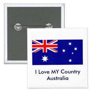 Love MY Country Australia Flag jGibney The MUSEUM 15 Cm Square Badge
