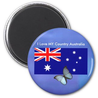 Love MY Country Australia Flag jGibney The MUSEUM 6 Cm Round Magnet