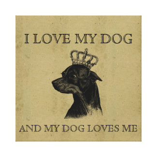 Love my dog vintage chihuahua graphic cute picture stretched canvas print