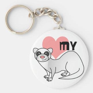 Love My Ferret - Silver Key Ring