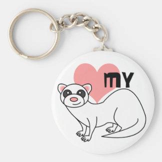 Love My Ferret - White Key Ring