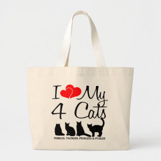 Love My FOUR Cats Large Tote Bag