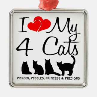 Love My FOUR Cats Silver-Colored Square Decoration