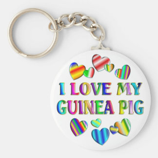 Love My Guinea Pig Basic Round Button Key Ring