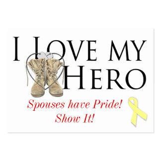love my hero, shoe yellow ribbon, Spouses have ... Pack Of Chubby Business Cards