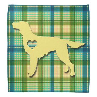 Love My Irish Setter Puppy Dog Tartan Plaid Bandana