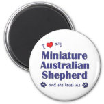 Love My Miniature Australian Shepherd (Female Dog) 6 Cm Round Magnet