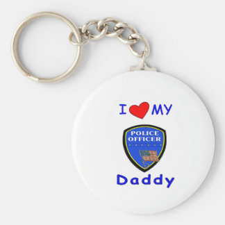 Love My Police Daddy Basic Round Button Key Ring