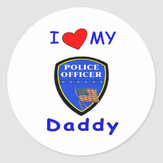 Love My Police Daddy Round Stickers