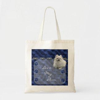 Love my Pom  Pomeranian Tote Bag  -blue