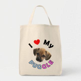 Love My Puggle Organic Grocery Tote Tote Bags